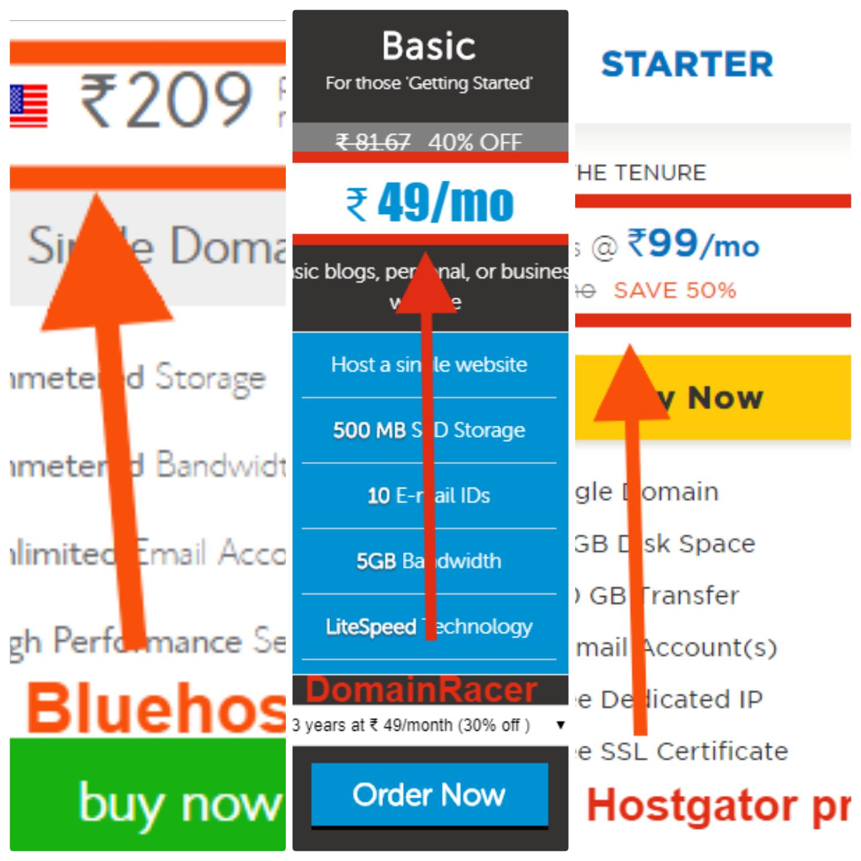 Domainracer vs bluehost vs hostgator