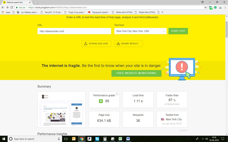Screenshot of speed test of ideasinsider speed