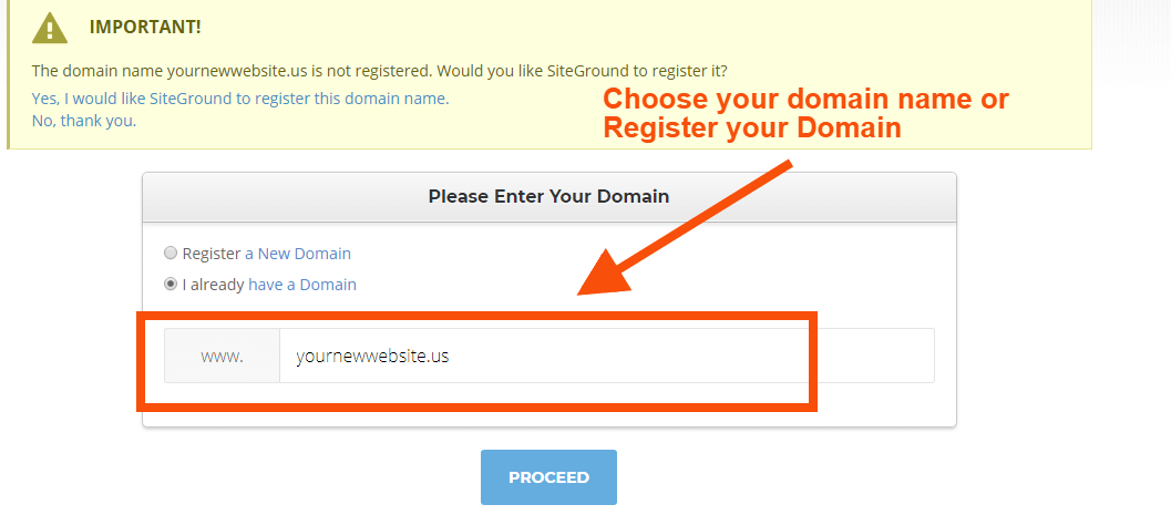 Choose your domain name-Siteground