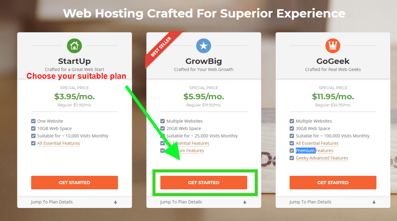 Choose your prefered plan in Siteground