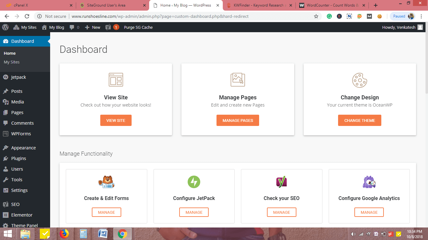 Go to Siteground Dashboard
