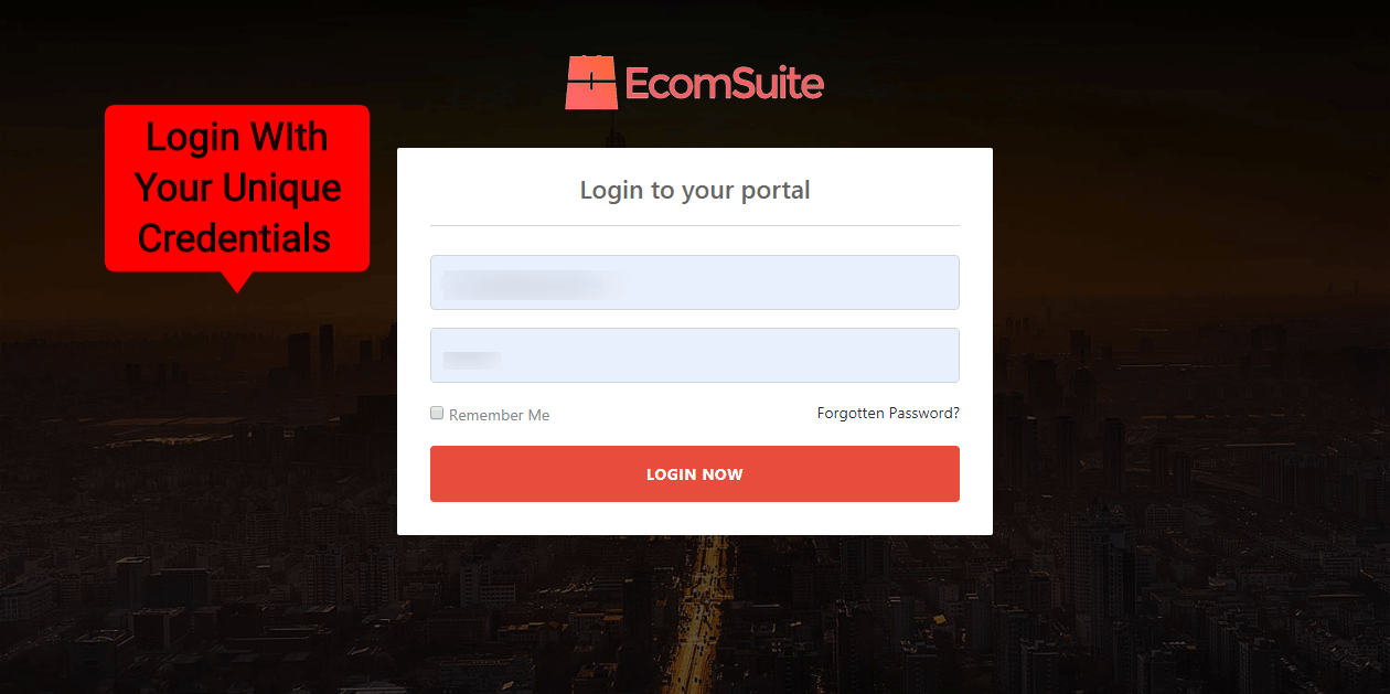 Ecomsuite Review-Step-1-Login