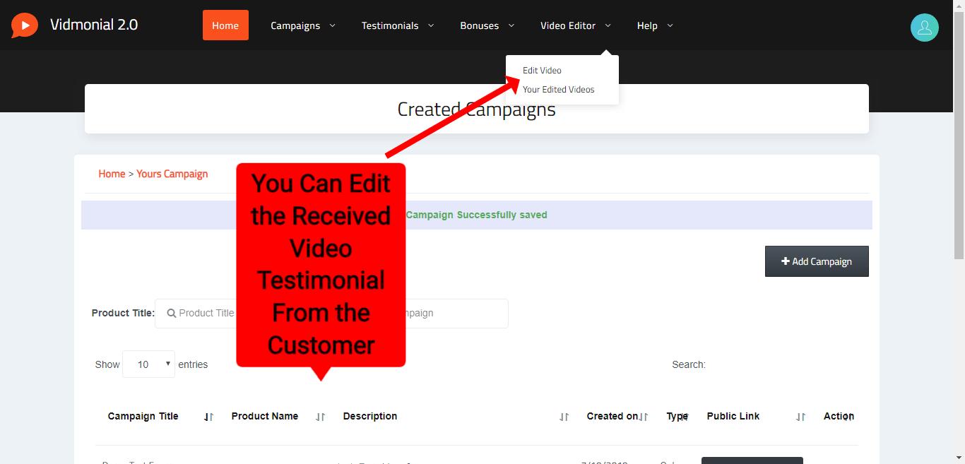 Vidmonial Review- Edit the customer Testimonial
