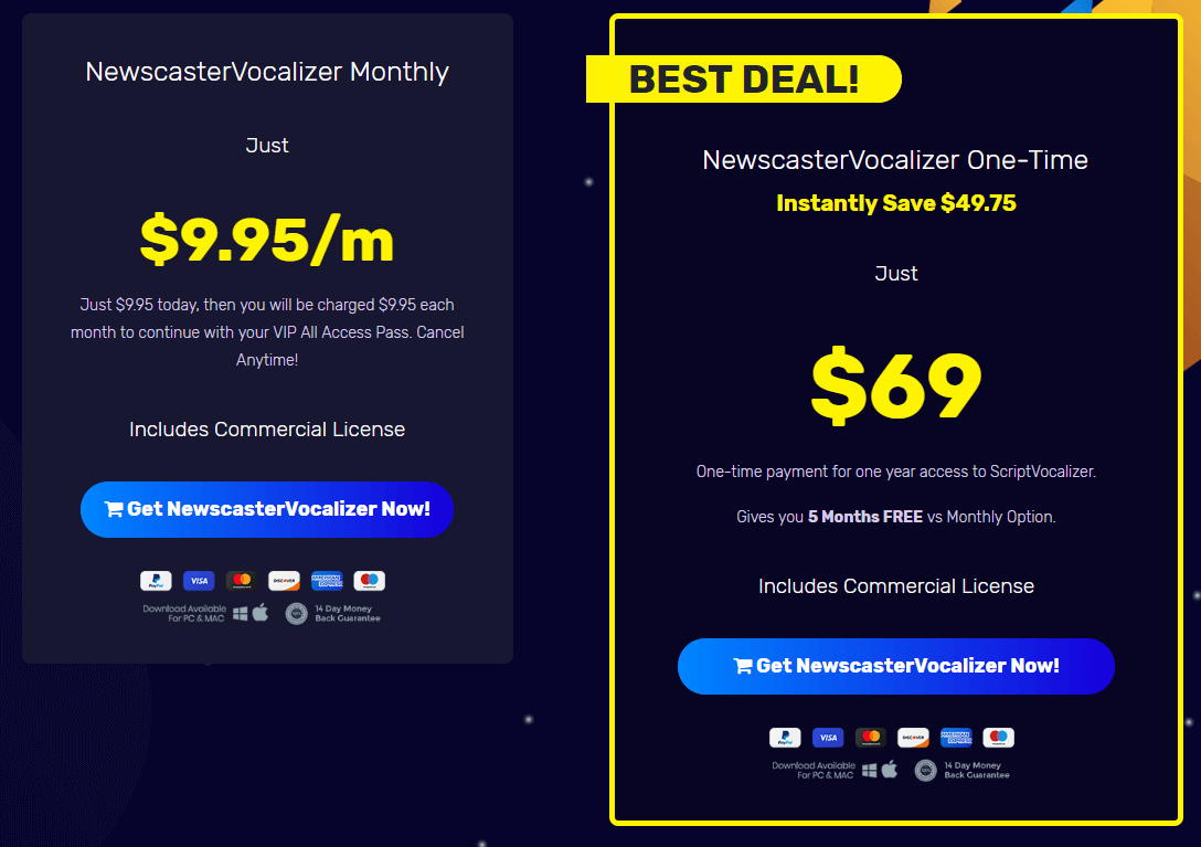 NewscasterVocalizer Review Pricing